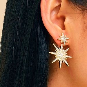 Double Rhinestone Starburst Earrings